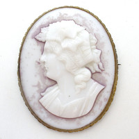 Antique Cameo Brooch Pressed Glass Greco Roman