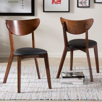 Baxton Studio Sumner Mid-Century Black Faux Leather and Walnut Brown Dining Chair Set of 2