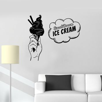 Vinyl Wall Decal Ice Cream Pop Art Sweet Dream Lettering Decor Stickers Mural (ig5661)