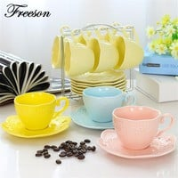 Europe Brief Emboss Porcelain Coffee Cup Saucer Spoon Set 200ml Ceramic Tea Cup Party Teacup Tray Cafe Teatime Drinkware