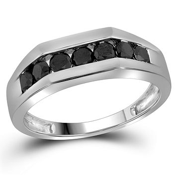 10kt White Gold Mens Round Black Colored Diamond Band Wedding Anniversary Ring 1.00 Cttw
