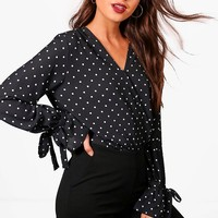 Kate Polka Dot Wrap Over Bodysuit | Boohoo