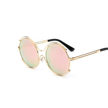 Hippie Round Sunglasses for Women Classic Brand Designer Twin-Beams Oval Sunglasses Coating Mirror Flat Panel Rose Gold Glasses