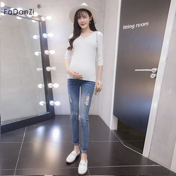 2018 summer pregnant women trousers pregnant women jeans pregnant women stomach lift pants cotton pregnant women jeans trousers