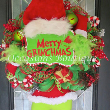 XL Christmas Wreath, Grinch Christmas Wreath, Christmas Decoration, Front door Wreath, Holiday Wreath, Door Hanger