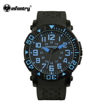 INFILTRATOR Mens JP Quartz Watches 2017 Fashion Navy Blue Aviator Sports Watches Silicone Strap Male Clock Relogio Masculino