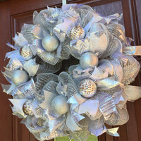 Deco Mesh Christmas Wreath - Winter Wreath - Silver Christmas Wreath - Holiday Wreath - White Silver Christmas Wreath Decor