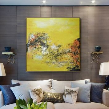Modern art abstract Painting on canvas yellow Original texture acrylic painting large canvas art wall picture home decor cuadros abstractos
