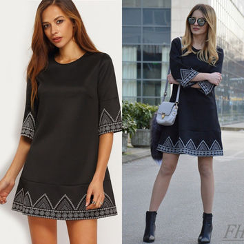 Fall Style Short Sleeve One Piece Dress [6446684932]