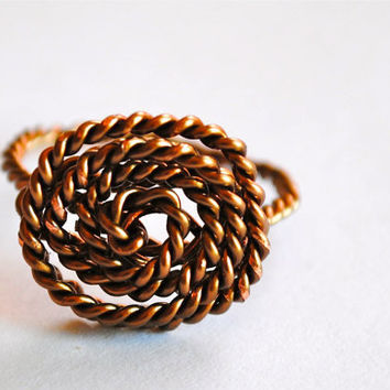 Wire Wrapped Ring Twisted Bronze Friendship Ring by KissMeKrafty