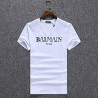 One-nice™ Balmain Women Man Fashion Print Sport Short Sleeve Shirt Top Tee