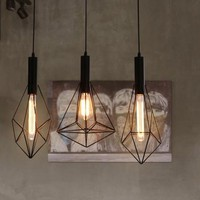 Northern Europe black iron diamond Ceiling light geometry loft creative vintage bar counter lamp cafe restaurant Lightiing