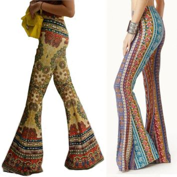 Fashion Flower High Waist Boho Pants Women Floral Printed Bell Bottom Pant Summer Wide Leg Flare Stretch Trousers C1