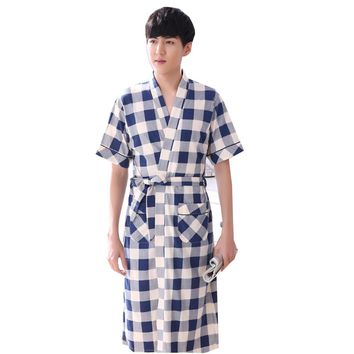 2017 New Arrival summer japanese tradition Style Man Plaid Bathrobe Kimono robe gown sleepwear 5933