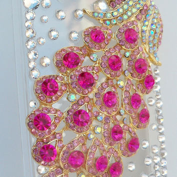 Peacock 3D iPhone 4/4S case with Crystals and Rhinestones Beads