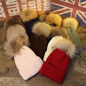 Warm winter brand new thick female cap mink and fox fur ball cap pom poms winter hat for women girl 's hat knitted beanies cap