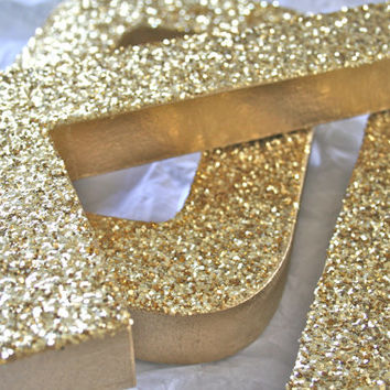 Glittered Letters or Numbers, Wedding or Party Decor, Self Standing, ANY COLOR