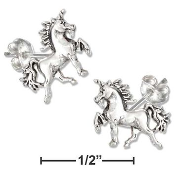 Sterling Silver Earrings:  Mini Unicorn Earrings On Stainless Steel Posts And Nuts