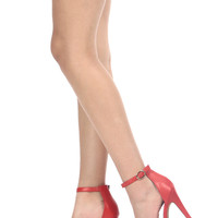 Red Faux Leather Ankle Strap Platform Heels