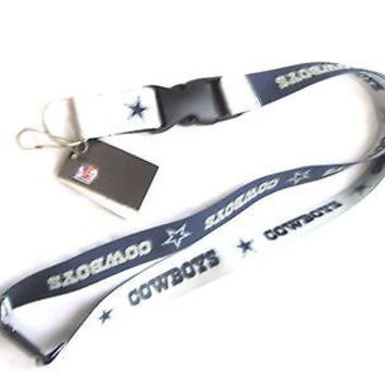 Cowboys 2-Tone Blue+Silver Licensed NFL Keychain/ID Holder Detachable Lanyard-v2