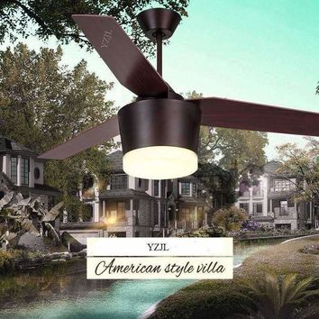 Ceiling chandelier fan retro American country living room dining room bedroom ceiling chandelier fan light LED fans