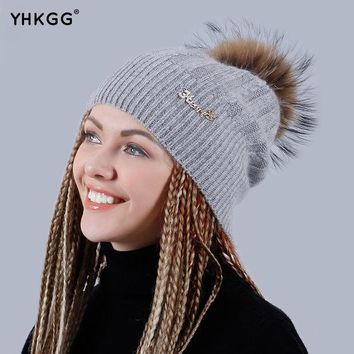 Yhkgg 2016 Brand New Winter Wool Knitted Winter Warm Hat Knitted Cashmere Thick Female Cap Beanies