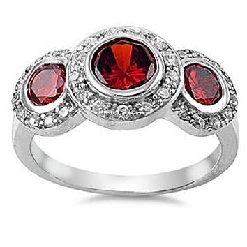 A Perfect 5.9TCW Round Cut Red Garnet & Russian Lab Diamond Halo Journey Ring