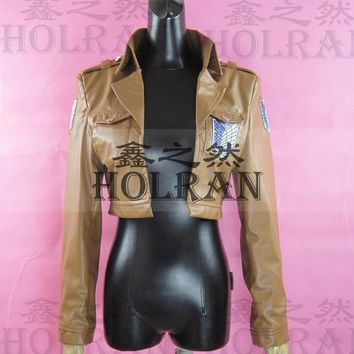 Cool Attack on Titan Hot Anime  cosplay costume jacket pu leather coat  hoodie AT_90_11