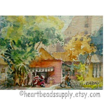 Little Red Corner, Singapore aceo painting wallart landscape id1340899 original watercolor, not a print, wall art, gift ideas, street scene