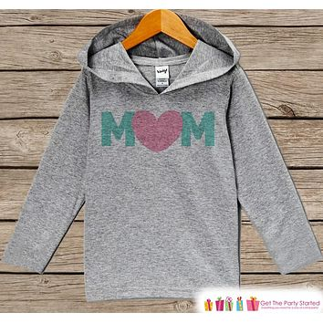 Mom Mother's Day Outfit - Pink Heart Mom Hoodie - Baby Girl's Best Mom Shirt - Children's Pullover - Grey Toddler Hoodie - Infant Hoodie