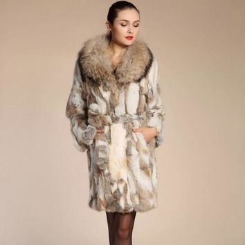 Fashion Genuine Real Sliced Rabbit Fur Coat Raccoon Fur Collar Winter Women Fur Trench Outerwear Coats Clothing 3XL 1464