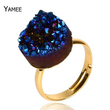 Women Men Ring 2017 Titanium Blue AB Color 15mm Round Natural Druzy Stone Aura Quartz Cluster Druzy Jewelry Wedding Rings Adjust