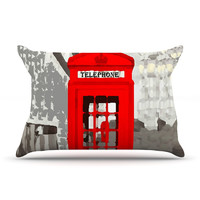 "Oriana Cordero ""London"" Red Gray Pillow Case"