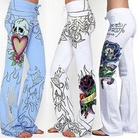 Fashion Women Baggy Rose Printed Pants Wide Leg Boho Loose Trousers Wide Leg Pants