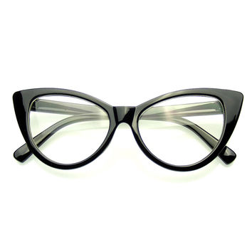 Super Cat Eye Glasses Vintage Inspired Fashion Mod Clear Lens Eyewear