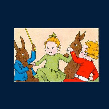 Cutting the Rug Wee Folk Rabbits Celebrate Mid 1930s Children's Book Litho Book Art Elves Party Valentines Hearts 1st Edition Book Art Print