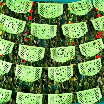 5 pack Mexican papel picado banners, tissue paper garland, fiesta party supplies, 60 Ft Long, MEDIUM banners, WS350