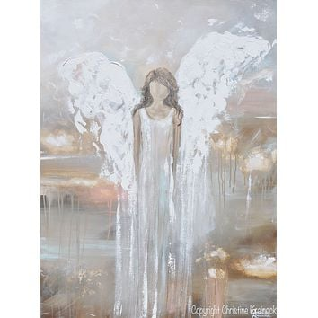 """""""Delicate Strength"""" GICLEE PRINT Abstract Angel Painting Fine Art Female Guardian Angel Home Canvas Wall Art"""
