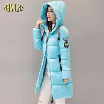 2017 New Winter fashion Solid color Korean Hooded Cotton Coat Women Long sleeve Slim Medium long Cotton Jacket Women Tide WXY392