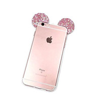 "iPhone 6S Case, MC Fashion Flexible Mickey Mouse 3D Bling Crystal Rhinestone Ears TPU Soft Shell Case for Apple iPhone 6S 4.7"" (2015) & iPhone 6 4.7"" (2014) (Bling-Multi)"