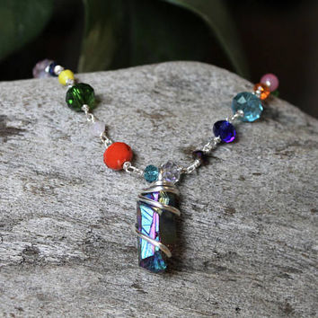 Rainbow Crystal Anklet - Gypsy Jewelry - Festival Fashion - Wire Wrapped Quartz Jewelry - Aura Quartz Anklet - Boho Chic - Bohemian Anklet