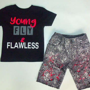 YOUNG FLY & FLAWLESS  t-shirt sneaker tee cute trendy custom personalized girl boy newborn toddler new kids clothes