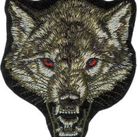 Wolf Head Iron-On Patch Red Eyes