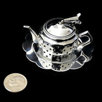 Vintage Teapot Stainless Steel Infuser Tea Strainer with Tray Caddy Plate Chrome Plated