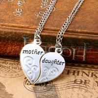 2PC Silver Plated Mother Daughter Necklace Silver Heart Love Mom Necklaces & Pendants