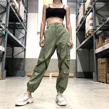 Women Fashion Stitching Buttons Multi-pocket Cargo Pants Leisure Pants Trousers