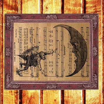 Antique Steampunk print Moon and flying man poster Astronomy decor