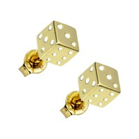 14kt Yellow Gold Flat Dice Stud Earrings