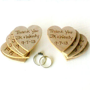 Wedding favors (custom made)  100 wood burned heart thank you magnets. YOUR saying of choice.