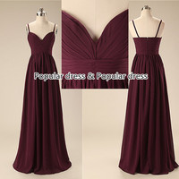 Cheap Bridesmaid Dresses/Deep V-neck Bridesmaid Dress/Sexy Backless Prom Dress/Burgundy  Long Evening Dress/Bridesmaid Dress/A014